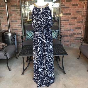 Vince Camuto Navy Floral Chiffon Maxi Dress Sz 12